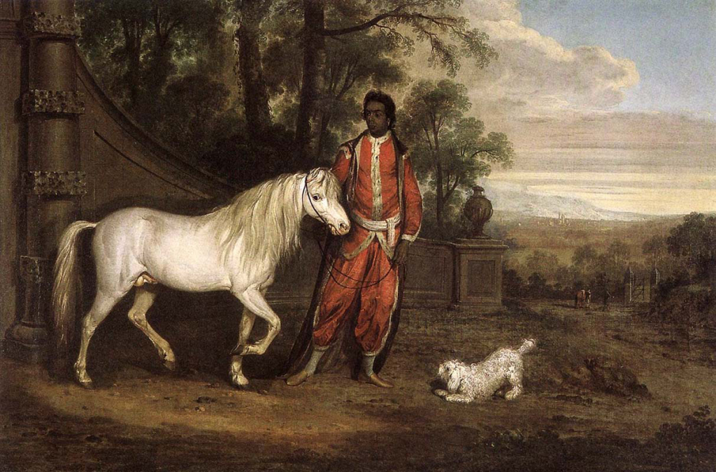 Bold Sir William, a Barb, and an East Indian Black - a 1772 painting by Thomas Roberts.
